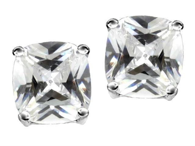 Star K Cushion Cut 7mm Genuine White Topaz Earrings Studs in Sterling Silver