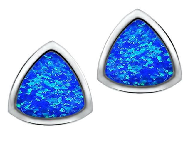Star K 7mm Trillion Cut Blue Simulated Opal Earrings Studs in Sterling Silver