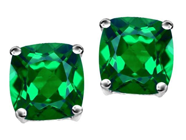 Star K Cushion Cut 7mm Simulated Emerald Earrings Studs in Sterling Silver