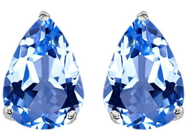 Star K Pear Shape 9x7mm Simulated Aquamarine Earrings Studs in Sterling Silver