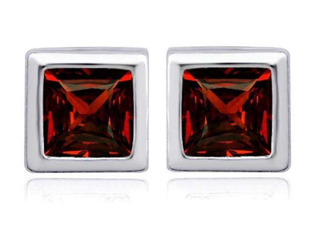 Star K 7mm Square Cut Simulated Garnet Earrings Studs in Sterling Silver