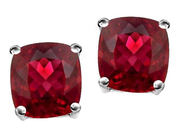 Star K Cushion Cut 7mm Created Ruby Earrings Studs in Sterling Silver