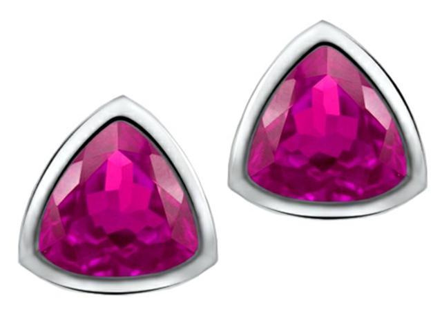 Star K 7mm Trillion Cut Created Pink Sapphire Earrings Studs in Sterling Silver