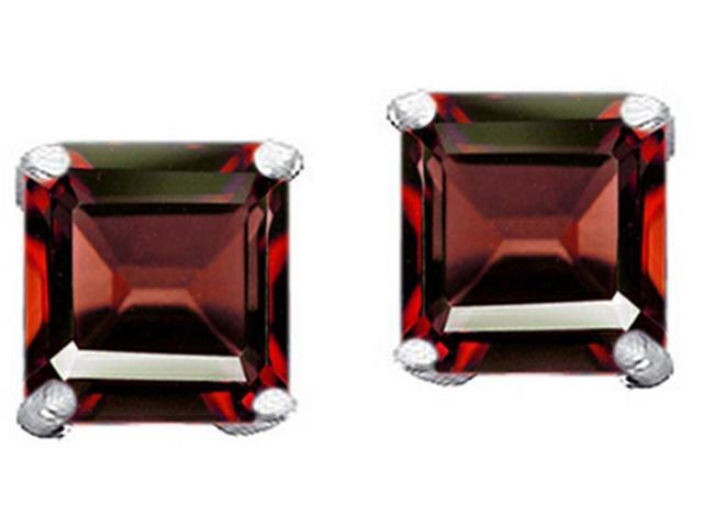 Star K Square 7mm Simulated Garnet Earrings Studs in Sterling Silver
