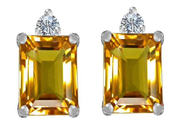 Star K 8x6mm Emerald Octagon Cut Simulated Citrine Earrings Studs in Sterling Silver
