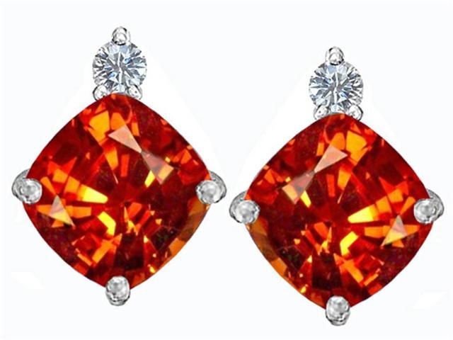 Star K 7mm Cushion Cut Simulated Mexican Orange Fire Opal Earrings Studs in Sterling Silver