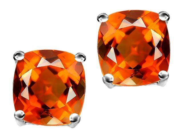 Star K Cushion Cut 7mm Simulated Mexican Fire Opal Earrings Studs in Sterling Silver