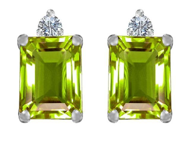 Star K 8x6mm Emerald Octagon Cut Simulated Peridot Earrings Studs in Sterling Silver