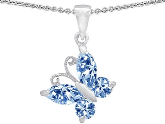 Star K Butterfly Pendant Necklace Made with Simulated Aquamarine in Sterling Silver