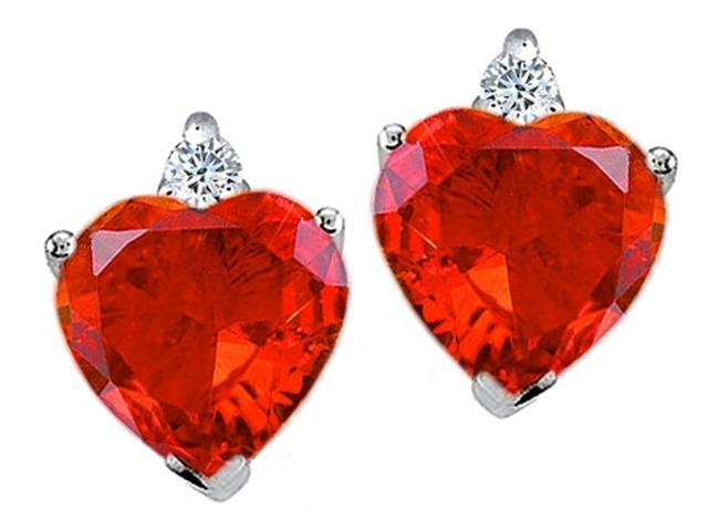 Star K Heart Shape Simulated Mexican Fire Opal Earrings in Sterling Silver