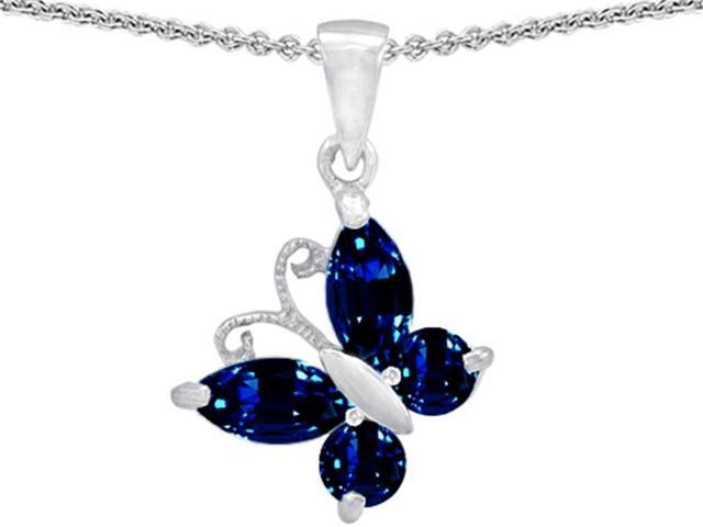 Star K Butterfly Pendant Made with Created Sapphire in Sterling Silver