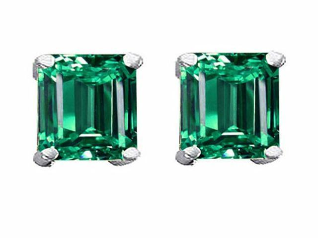 Star K Square 7mm Simulated Emerald Earrings in Sterling Silver