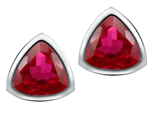 Star K 7mm Trillion Cut Created Ruby Earrings Studs in Sterling Silver
