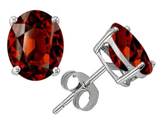 Star K Oval 8x6mm Simulated Garnet Earrings Studs in Sterling Silver