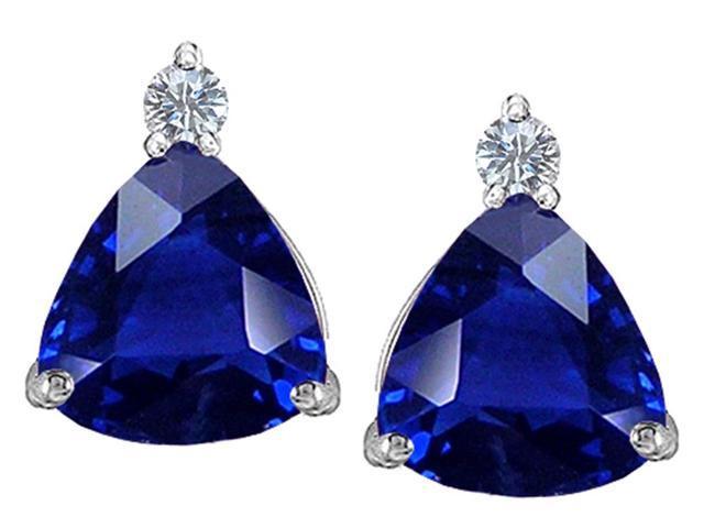 Star K 7mm Trillion Cut Created Sapphire Earrings Studs in Sterling Silver