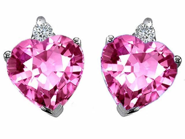 Star K Heart Shape 7mm Created Pink Sapphire Earrings in Sterling Silver
