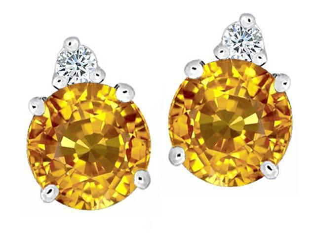 Star K Round 7mm Simulated Citrine Earrings Studs in Sterling Silver