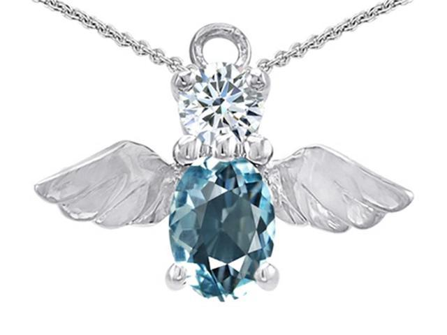 Star K Angel Of Love Protection Pendant Necklace Made with Oval 8x6mm Simulated Aquamarine in Sterling Silver