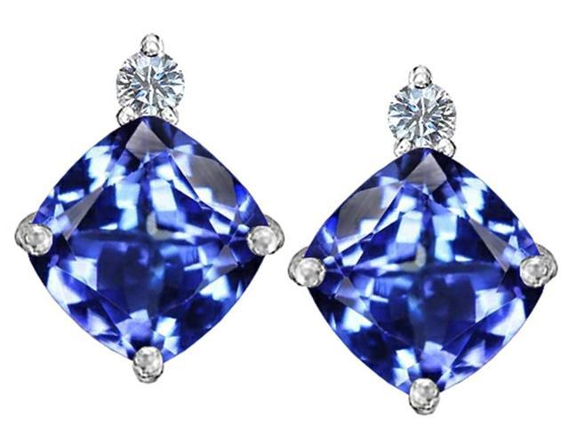 Star K 7mm Cushion Cut Simulated Tanzanite Earrings Studs in Sterling Silver