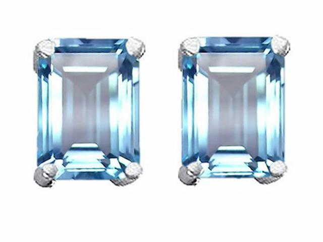 Star K 3.00 Ct. TW. Emerald Cut 8x6mm Created Aquamarine Earrings