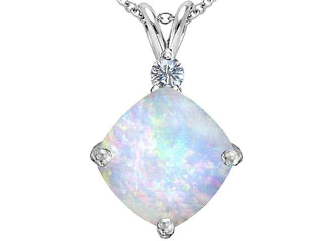Star K Large 12mm Cushion Cut Simulated Opal Pendant in Sterling Silver