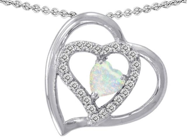 Star K Heart Shape Simulated Opal Pendant in Sterling Silver