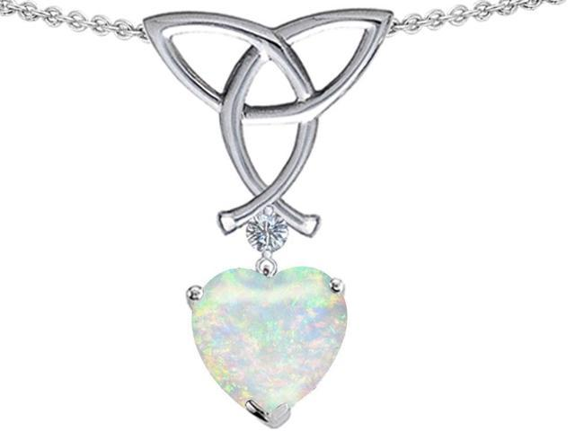 Star K Love Knot Pendant Necklace with 8mm Heart Shape Created Opal in Sterling Silver
