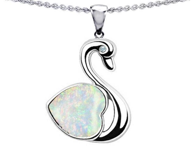 Star K Love Swan Pendant with 8mm Heart Shape Simulated Opal in Sterling Silver