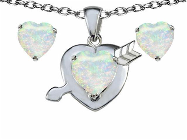 Star K Heart Shape 7mm Created Opal Heart with Arrow Pendant Necklace with matching earrings in Sterling Silver