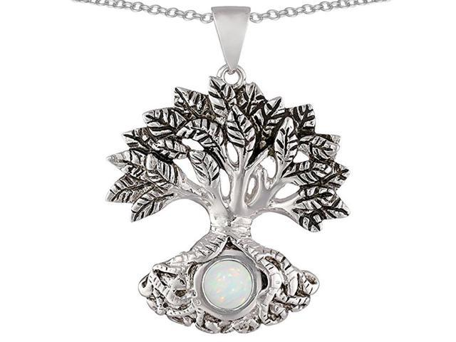 Star K Tree Of Life Good Luck Pendant Necklace with 7mm Round Created Opal in Sterling Silver