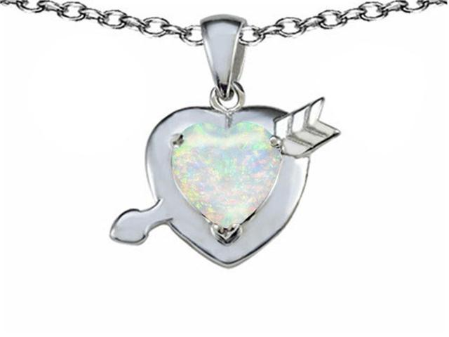 Star K Heart with Arrow Love Pendant with Heart Shape 8mm Simulated Opal in Sterling Silver