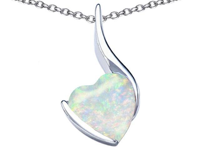 Star K Large 10mm Heart Shape Created Opal Heart Pendant Necklace in Sterling Silver