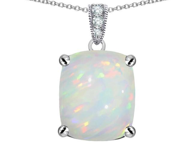 Star K Large 12x10mm Cushion Cut Simulated Opal Pendant in Sterling Silver