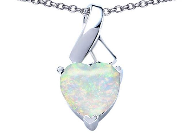 Star K 8mm Heart Shape Simulated Opal Ribbon Pendant in Sterling Silver
