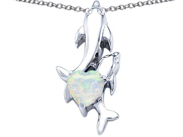 Star K 7mm Heart Shape Created Opal Two Swimming Dolphin Pendant Necklace in Sterling Silver