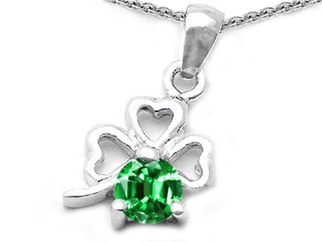 Celtic Love by Kelly Round Simulated Emerald Lucky Clover Pendant in Sterling Silver
