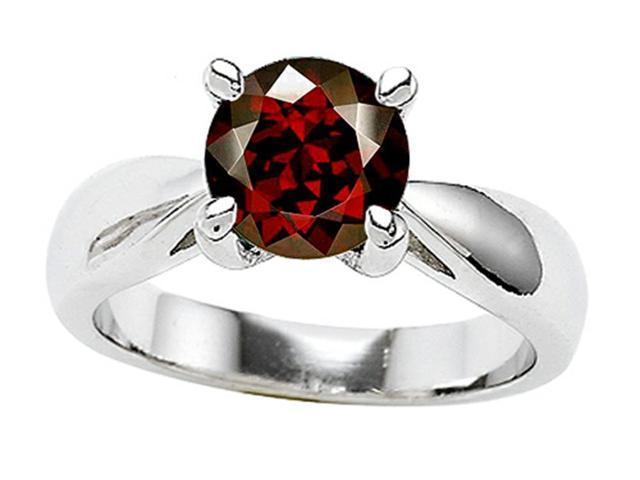 Star K 7mm Round Simulated Garnet Ring in Sterling Silver Size 5
