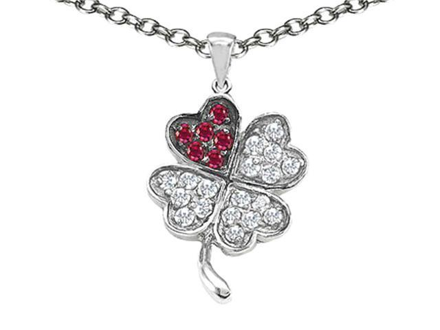 Celtic Love by Kelly Lucky Clover Pendant with Created Ruby in Sterling Silver