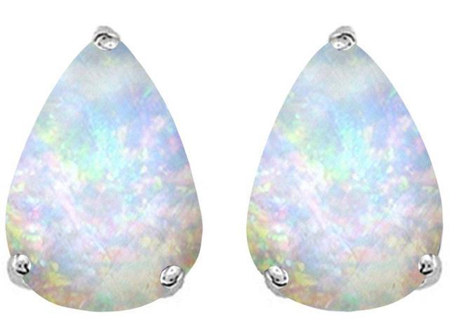 Star K Pear Shape 9x7mm Simulated Opal Earrings Studs in Sterling Silver
