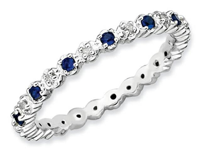 Stackable Expressions Sterling Silver Created Sapphire and Diamond Stackable Ring Size 6