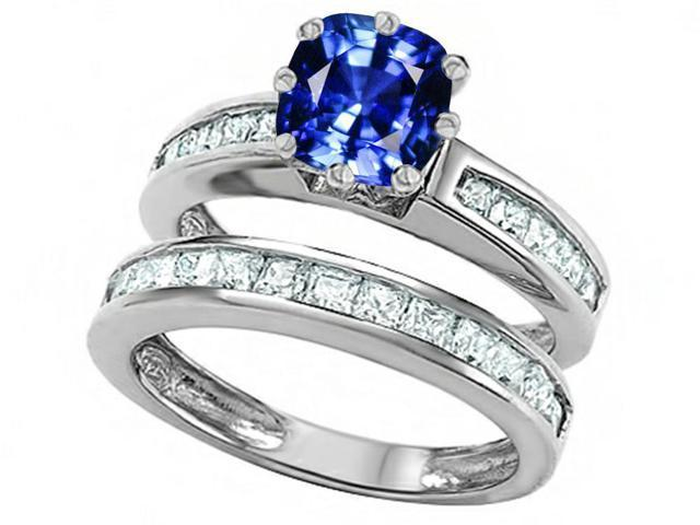Star K Cushion Cut 7mm Created Sapphire Wedding Set in Sterling Silver Size 6