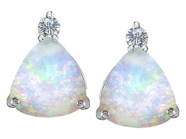 Star K 7mm Trillion Cut Created Opal Earrings Studs in Sterling Silver