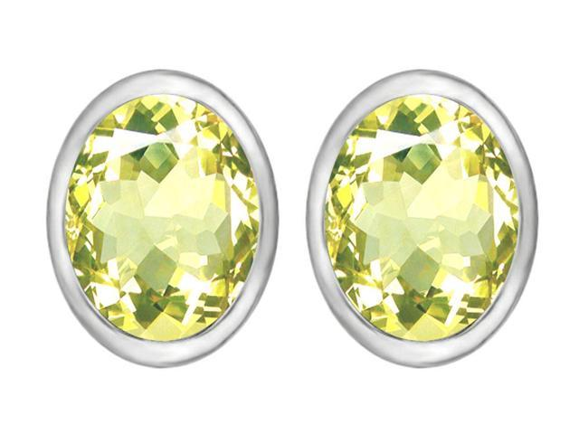 Star K 8x6mm Oval Simulated Peridot Earrings Studs in Sterling Silver