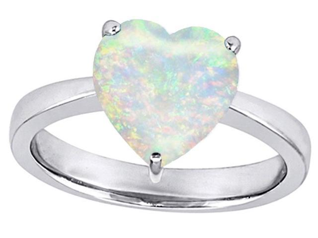 Star K Large 10mm Heart Shape Solitaire Simulated Opal Ring in Sterling Silver Size 6