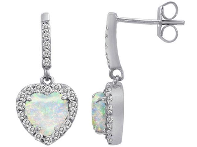 Star K 6mm Heart Shape Simulated Opal Dangling Heart Earrings in Sterling Silver