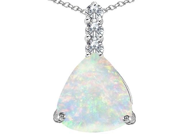 Star K Large 12mm Trillion Cut Created Opal and Cubic Zirconia Pendant Necklace in Sterling Silver