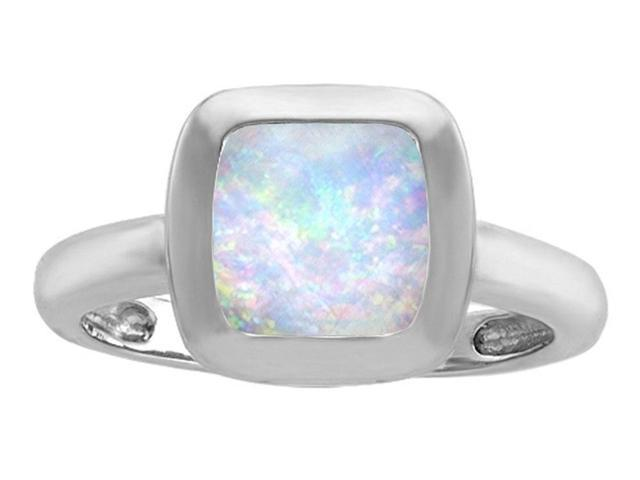 Star K 8mm Cushion Cut Solitaire Ring with Simulated Opal in Sterling Silver Size 8