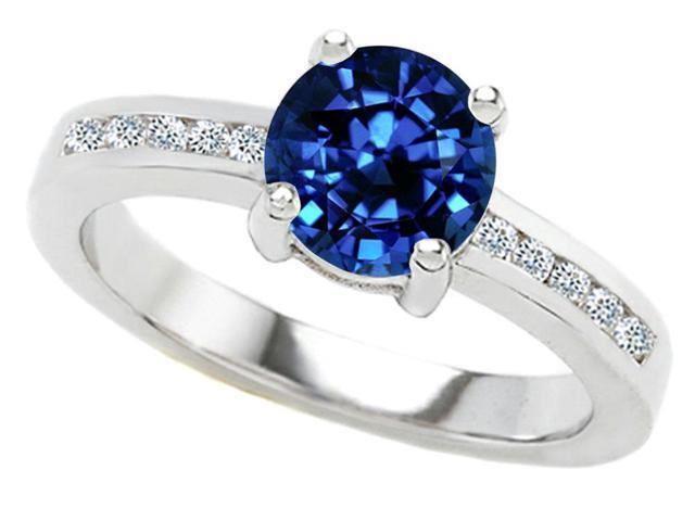 Star K Round 7mm Created Sapphire Ring in Sterling Silver Size 7