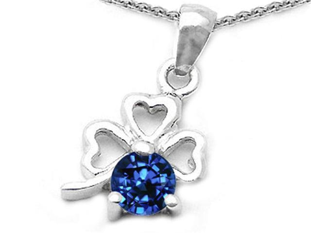 Celtic Love by Kelly Round Created Sapphire Lucky Clover Pendant in Sterling Silver
