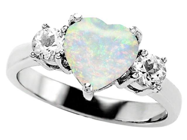 Star K 8mm Heart Shape Simulated Opal Ring in Sterling Silver Size 7